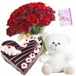 Temptation of Joy - 16 Red Roses Bunch, 1/2 Kg Cake Heart Shape, Teddy Bear 6 inch + Card