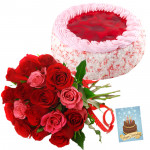 Magical Mix - Bunch of 12 Red and Pink Roses, 1/2 Kg Strawberry Cake + Card