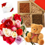 Teddy Bear Roses - 18 Mix Roses Bunch, Assorted Dryfruits in Box 200 gms, Teddy 6 inch & Card