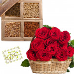 Love Filled Heart - Basket Arrangement of 25 Red Roses, Assorted Dryfruits in Box 500 gms & Card