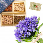 Orchids with Dry Fruits - Bunch of 12 Purple Orchids, Assorted Dryfruits in Box 500 gms & Card