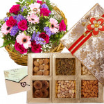 Made for U Only - Basket Arrangement of 25 Mix Flowers, Assorted Dryfruits in Box 1 Kg & Card