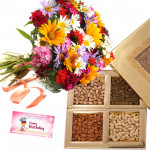 Flowers Bunch with Dryfruits - Bunch of 15 Mix Flowers, Assorted Dryfruits in Box 500 gms & Card