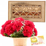 Carnations Love - Basket of 18 Red Carnations, Assorted Dryfruits in Box 500 gms & Card