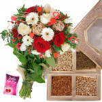 Flowers Dryfruit Combo - Bunch of 15 Red and White Seasonal Flowers, Assorted Dryfruits in Box 500 gms & Card