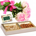 Attractive Combo - Bunch of 15 Pink Roses, Cashew & Almonds Box 500 gms & Card