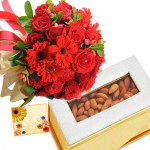 Red Combo - Bunch of 15 Red Roses with Red Carnations, Almond 500 gms Box & Card