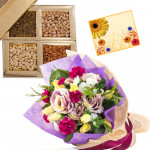 Ideal Hamper for You - Bunch of 10 Mix Flowers, Assorted Dryfruits in Box 200 gms & Card