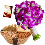 Orchids N Dryfruits - Bunch of 6 Purple Orchids, Assorted Dryfruits in Basket 200 gms & Card
