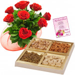 Dryfruits with Roses - Bunch of 10 Red Roses, Assorted Dryfruits in Box 400 gms & Card