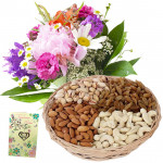Bunch N Basket - Bunch of 15 Mix Flowers, Assorted Dryfruits in Basket 200 gms & Card