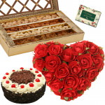 Heart for Love - 30 Red Roses Heart Shaped Arrangements, Assorted Dryfruits in Box 200 gms, Black Forest Heart Cake 1kg & Card