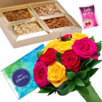 Celebration with a Difference - Bunch of 12 Mix Roses, Assorted Dryfruits in Box 400 gms, Cadbury Celebrations 118 gms & Card