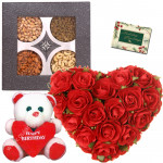 Heartful of Love - 25 Red Roses Heart Shape Arrangement, Assorted Dryfruits in Box 200 gms, Teddy with Heart 6 inch & Card