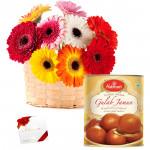Gerbera Basket N Sweets - 20 Mix Gerberas in Basket, Gulab Jamun 500 gms & Card