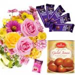 Pinky Milky - 12 Pink & Yellow Seasonal Flowers Bunch, Gulab Jamun 500 gms, 5 Dairy Milk 14 gms each & Card
