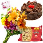 Seasonal Papdi Treat - 12 Mix Seasonal Flowers Bunch, Soan Papdi 250 gms, Chocolate Cake 1/2 Kg & Card