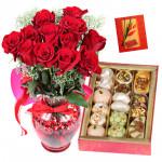 Rose Vase Mix - 12 Red Roses in a vase, Kaju Mix 500 Gms & Card