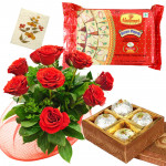 Red Laddoo Papdi - 10 Red Roses Bunch, Boondi Laddo 500 gms, Soan Papdi 250 gms & Card