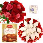 Rose Dual Combo - 12 Pink & Red Roses Bunch, Gulab Jamun 500 gms, Kaju Katli 250 gms & Card