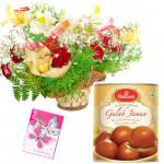 Basket Sweet Mix - 20 Mix Flowers Basket, Gulab Jamun 500 gms & Card