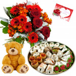 Flower Mix Teddy - 12 Mix Red Flowers Bunch, Kaju Mix 250 gms, Teddy bear 6 inch  & Card