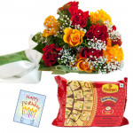 Red N Yellow Papdi - 10 Red and Yellow Roses, Soan Papdi 250 gms & Card
