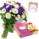 Flowers N Papdi - 6 Orchids, 10 White Flowers Bunch, Soan Papdi 500 gms & Card