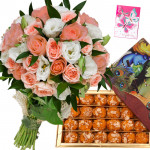 Pink Laddoo Bunch - 12 Pink and White Roses Bunch, Motichur Laddu 250 gms & Card