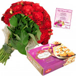 Red Rose Papdi - 10 Red Roses Bunch, Soan Papdi 750 gms & Card