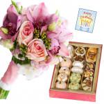 Pink Floral Mix - 10 Pink Flowers Bunch, Kaju Mix 250 gms & Card