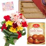 Katli Flower Sweet - 12 Mix Flowers Bunch, Kaju Katli 250 gms, Gulab Jamuns 500 gms & Card