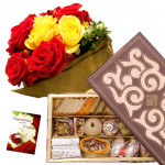 Red N Yellow Mix - 6 Red and Yellow Roses, Kaju Mix 500 gms & Card
