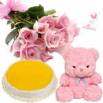 Soft Delight - 6 Pink Roses Bunch, Teddy 6 inch, 1/2 kg Pineapple Cake + Card