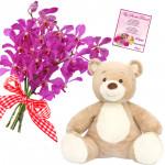 Flowery Bear - 6 Orchids Bunch, Teddy 6 inch + Card