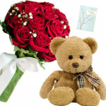 Red Roses N Bear - 8 Red Roses Bunch, Teddy 6 inch + Card