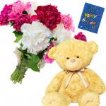 Carnations N Bear - 12 Mix Carnations Bunch, Teddy 6 inch + Card