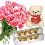 Carnations N Teddy - 12 Pink Carnations Bunch,Teddy 10 inch with Heart, 2 Ferrero Rocher 5 pcs + Card