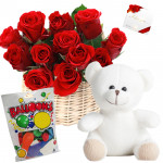 Basket Balloon N Bear - 20 Red Roses in Basket, Teddy 12 inch, Balloons Packet + Card