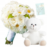 White Flowers N Teddy - 6 Mix White Flowers Bunch, Teddy 6 inch + Card
