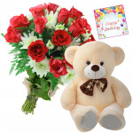 Big Bear Roses - 18 Red Roses Bunch, Teddy 20 inch + Card