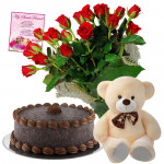 Red Choco Teddy - 16 Red Roses in Bunch, Teddy 6 inch, Chocolate Cake 1/2 kg + Card