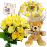 Yellow Pina Teddy - 12 Yellow Roses Bunch, Teddy 6 inch, Pineapple Cake 1/2 kg + Card