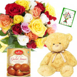 Mix Sweet Bear - 14 Mix Roses Bunch, Teddy 6 inch, Gulab Jamun 500 gms + Card