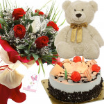 Roses Cake N Teddy - 10 Red Roses Bunch, Teddy 10 inch, Black Forest Cake 1/2kg + Card