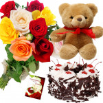 Mix Teddy Cake - 10 Mix Roses Bunch, Teddy 6 inch, Black Forest Cake 1/2 kg + Card