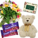 Nutty Basket Combo - 20 Mix Flowers Basket, Teddy 6 inch, 2 Fruit N Nut + Card