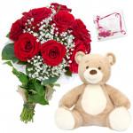Mix Teddy Love - 10 Mix Roses Bunch, Teddy 6 inch + Card