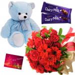 Red Teddy Chocos - 15 Red Flowers Bunch, Teddy 6 inch, 2 Dairy Milk + Card