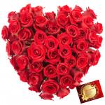 Red Heart Basket - 50 Red Roses Heart Shape Arrangement in a Basket & Card